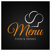 food and drinks menu with chef hat on black background 8 eps