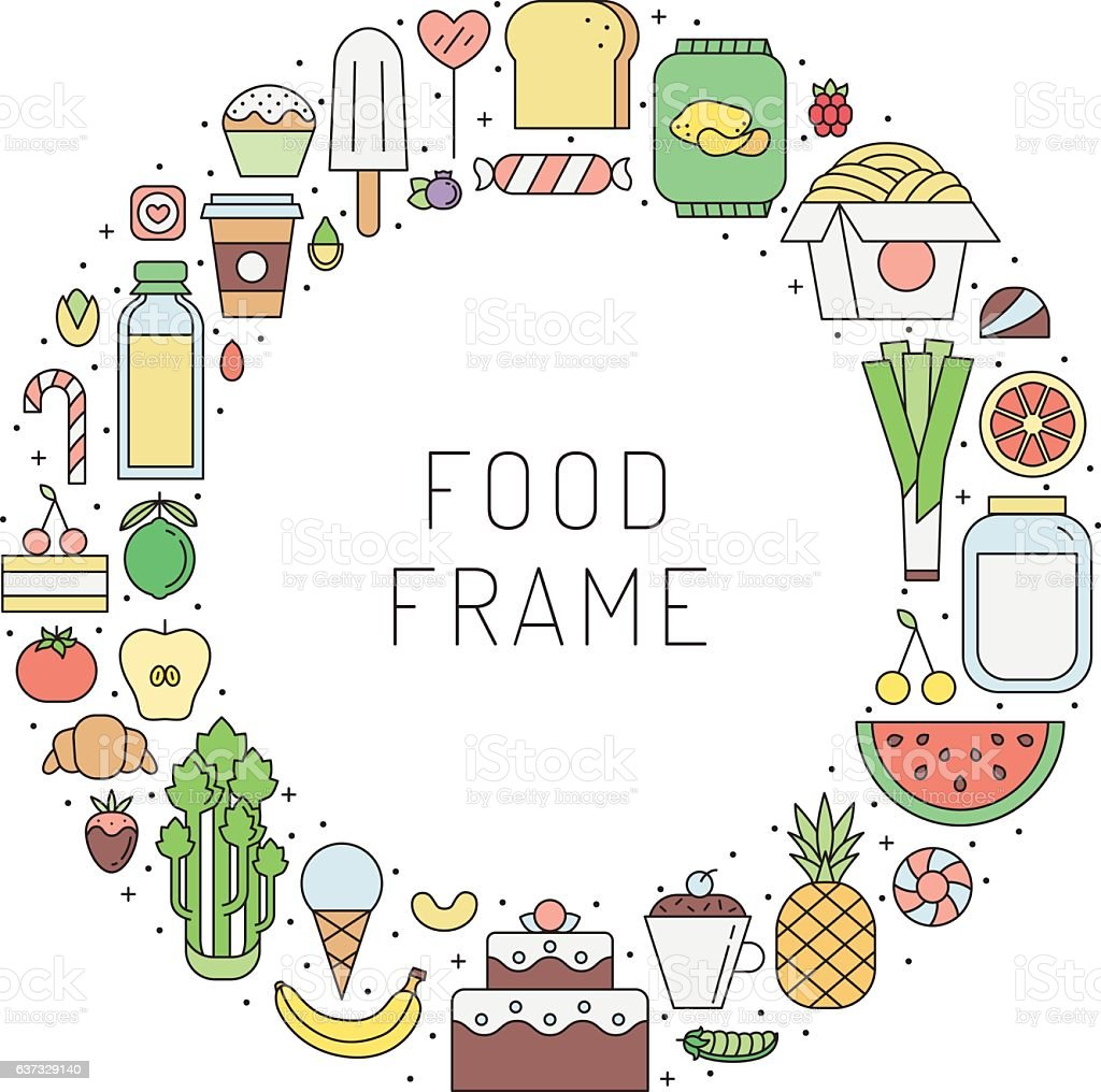 Food and drinks outline circle frame illustration. Clean and simple...