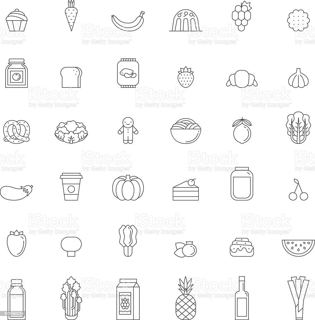 food and drinks outline icon set gray simple design royalty free - Simple Outline Pictures