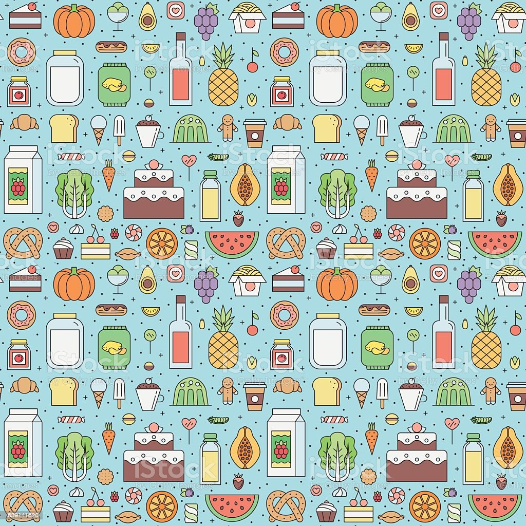 Food and drinks (grocery shop) outline seamless vector pattern. vector art illustration