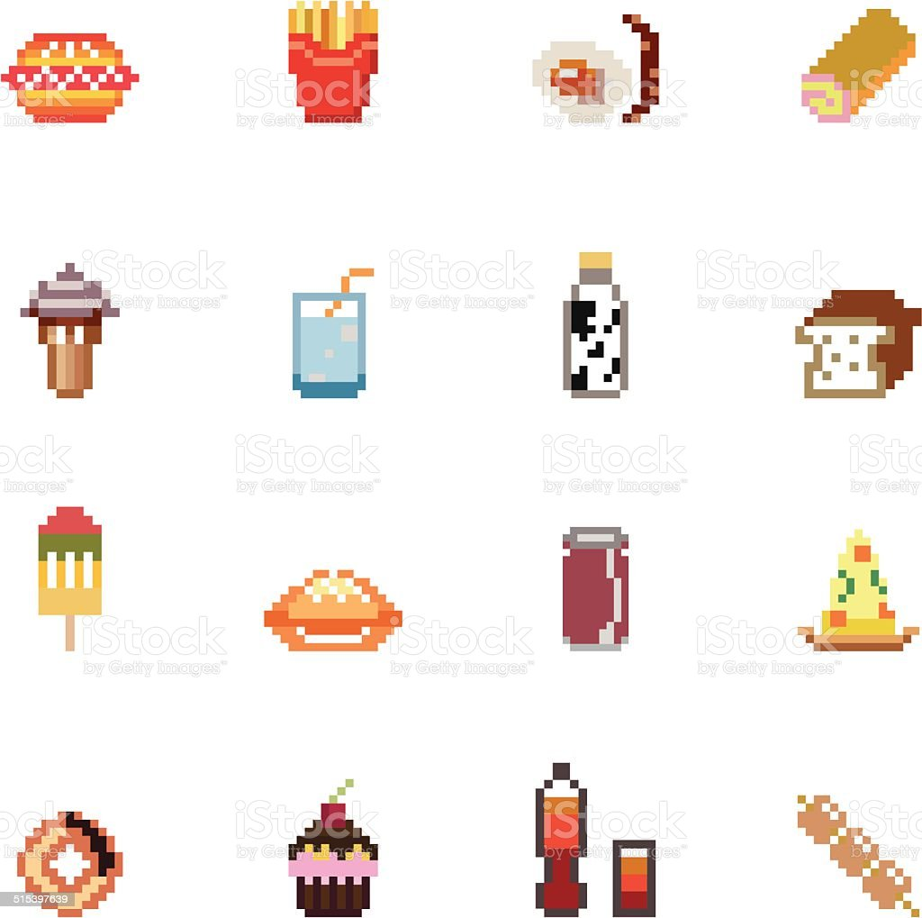 Food and Drinks Pixel Icons vector art illustration