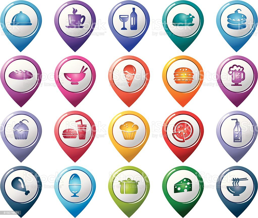 Food and Drinks Pointer Icons vector art illustration