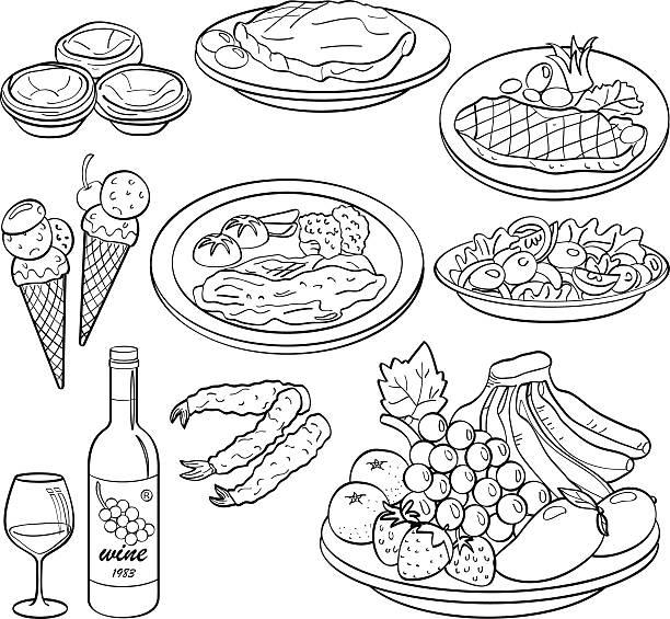 Food and Drinks http://dl.dropbox.com/u/38148230/LB23.jpg black and white food stock illustrations
