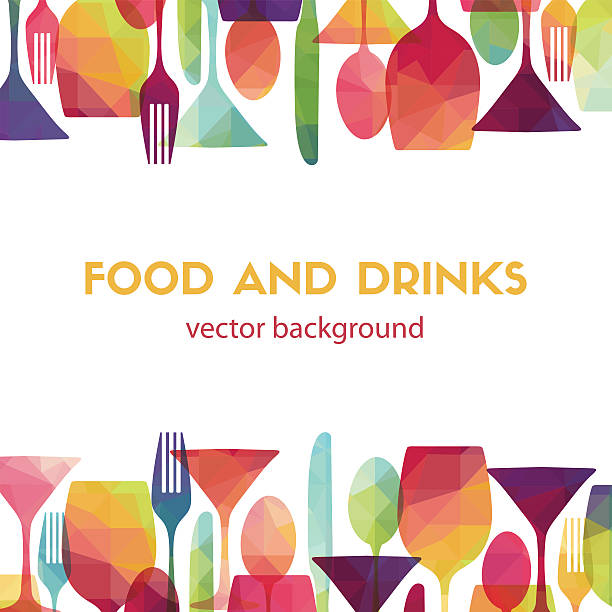 stockillustraties, clipart, cartoons en iconen met food and drinks. vector illustration - dranken en maaltijden