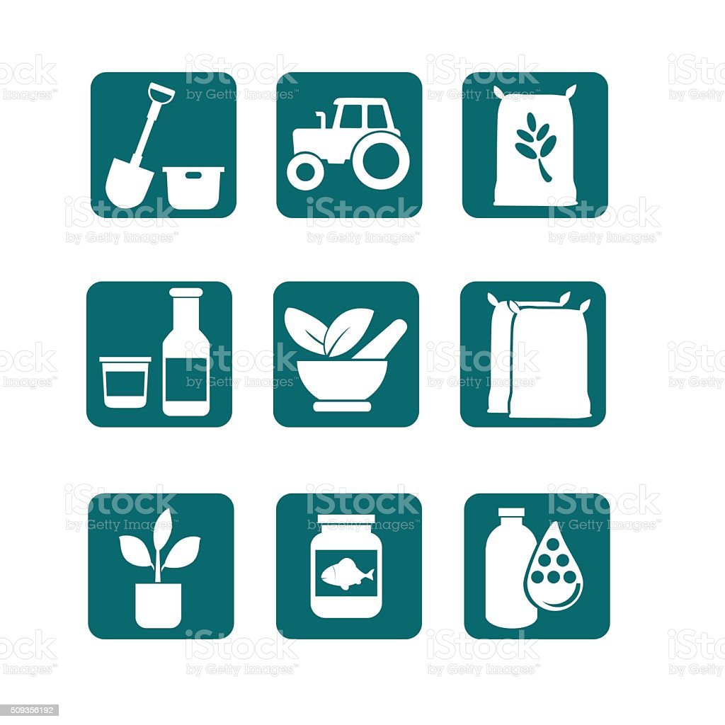 Food and Farming Icons vector art illustration