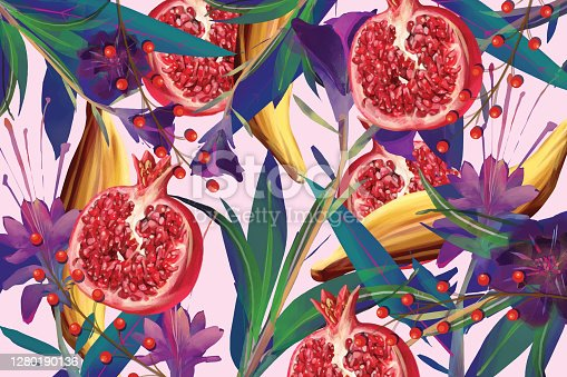 istock Food and flower pattern 1280190136