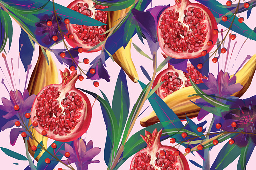 Food and flower pattern