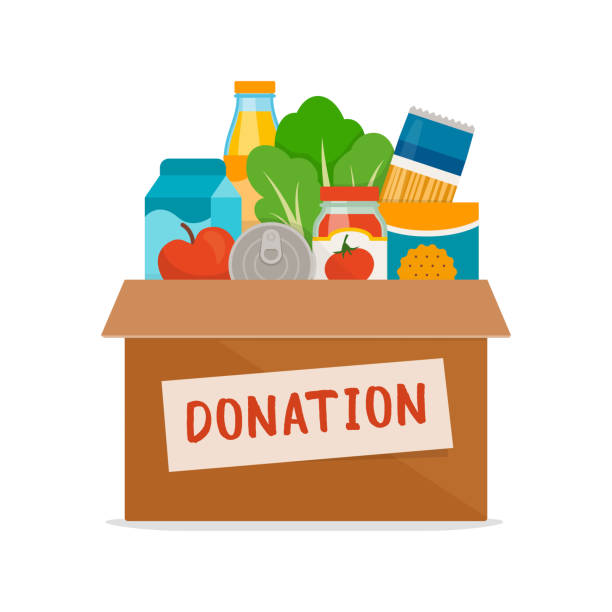 Food and grocery donation Grocery food in a donation box on white background, food drive and volunteering concept food drive stock illustrations
