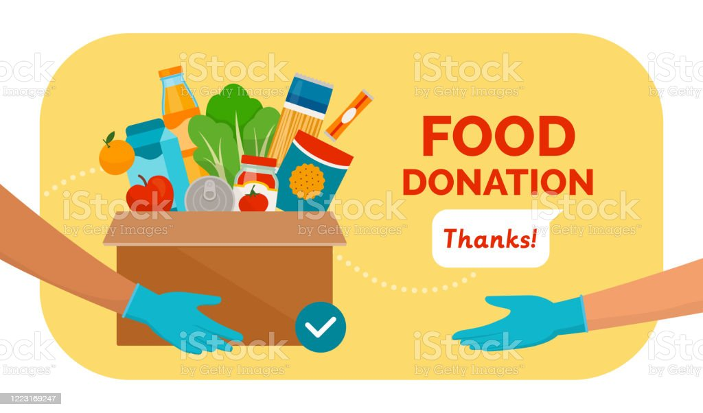 Food and grocery donation Volunteer holding a donation box with food using protective gloves, charity and solidarity during covid-19 pandemic concept A Helping Hand stock vector