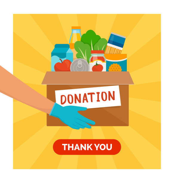 Food and grocery donation Volunteer holding a donation box with grocery food, solidarity and volunteering concept food drive stock illustrations