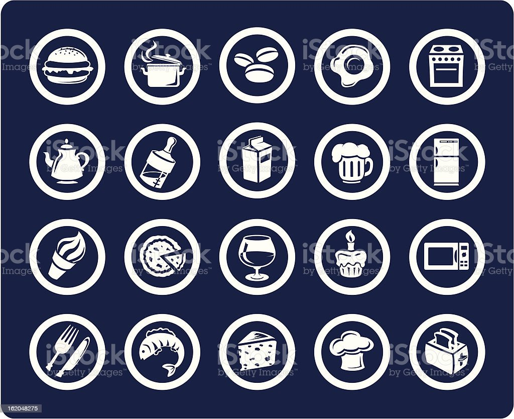 Food and Kitchen 20 vector icons (set #09) vector art illustration
