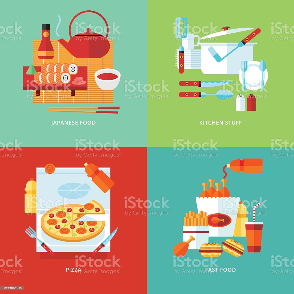 Food And Kitchen Concept Illustration Japanese Sushi Food Pizza Food ...