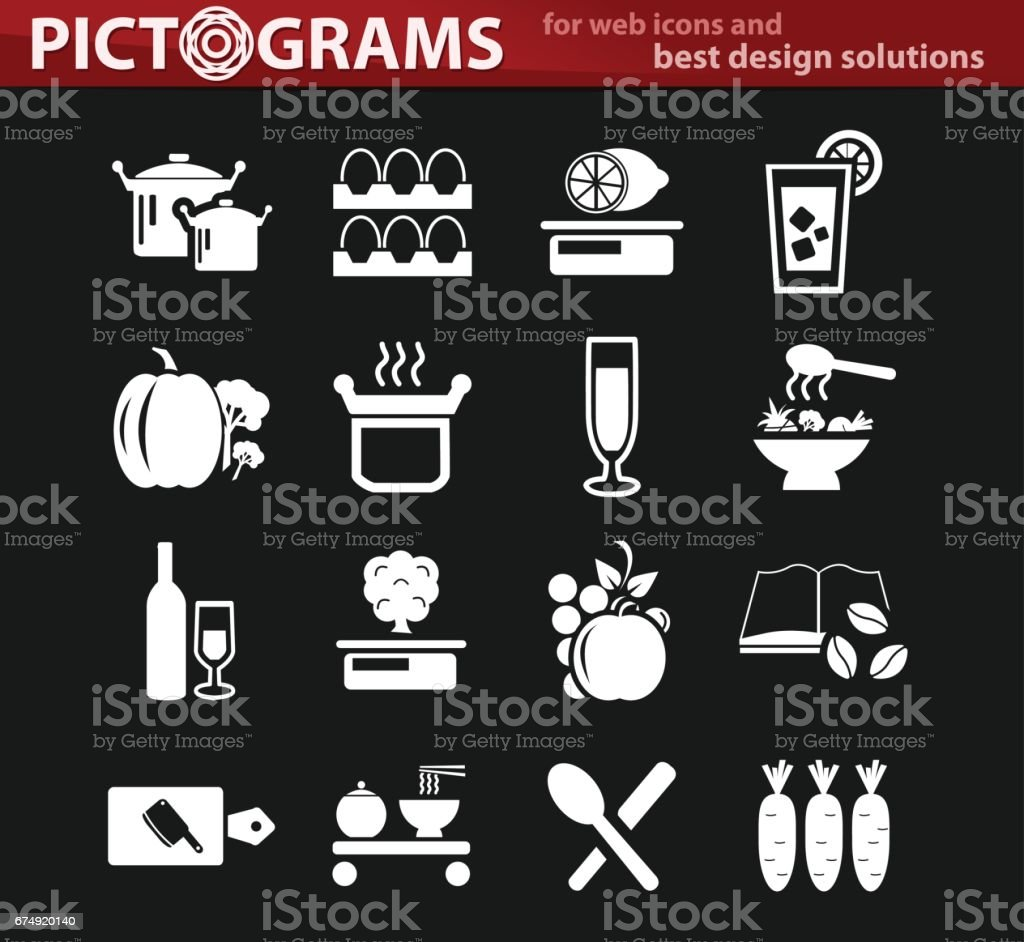 Food and kitchen icons set royalty-free food and kitchen icons set stock vector art & more images of cocktail