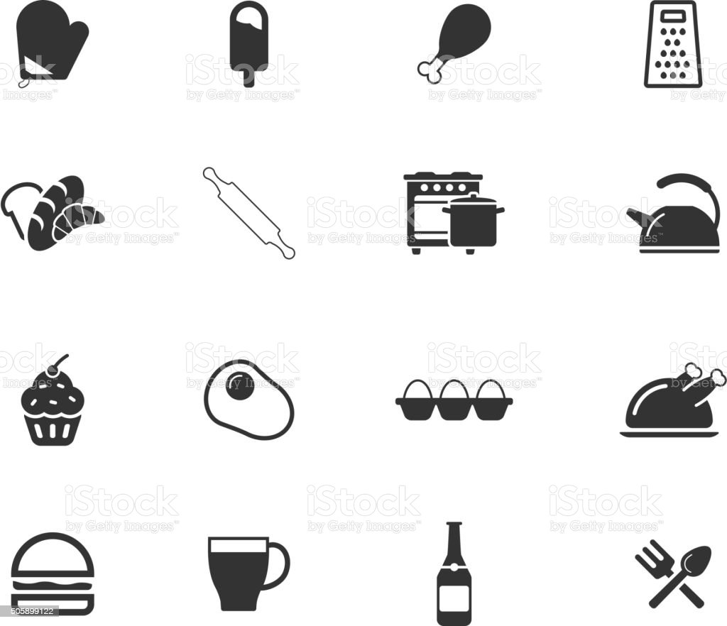Food and kitchen simply icons vector art illustration
