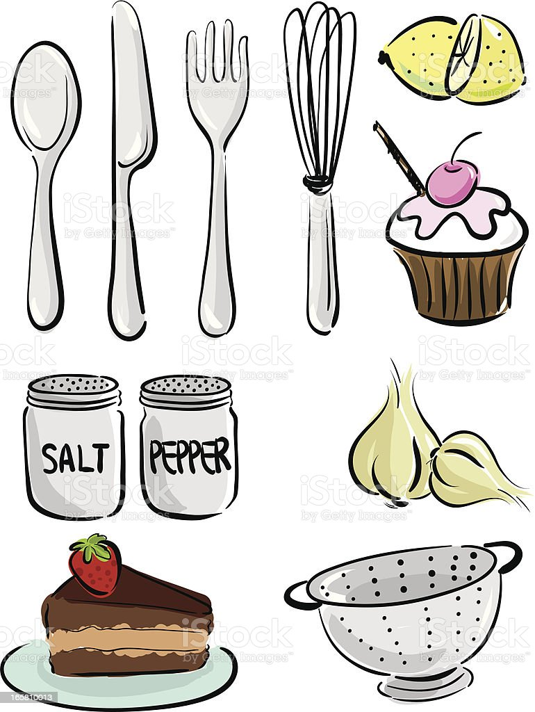 Food and Kitchen vector art illustration