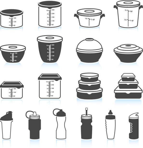 ilustraciones, imágenes clip art, dibujos animados e iconos de stock de recipientes para alimentos y líquidos negro & conjunto de iconos de vector blanco - leftovers
