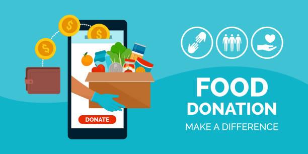 app für essens- und essensspenden - smartphone mit corona app stock-grafiken, -clipart, -cartoons und -symbole