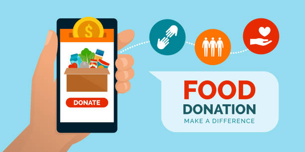 Food and meal donation app Food and meal donation app on a smartphone, volunteering and charity concept food bank stock illustrations