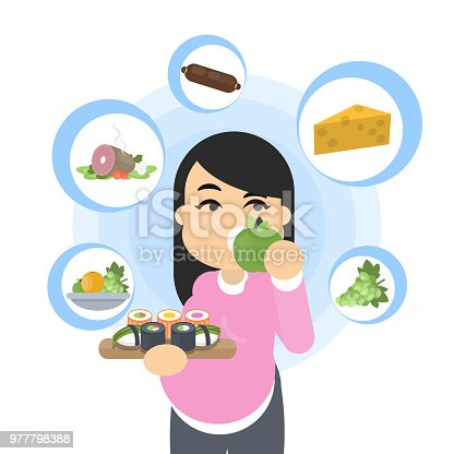 Food and pregnancy. Smiling pregnant woman eating.