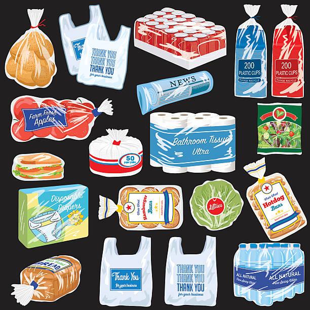 lebensmittel und produkte, die mit recyclingfähigen flexibel kunststoff - plastikteller stock-grafiken, -clipart, -cartoons und -symbole