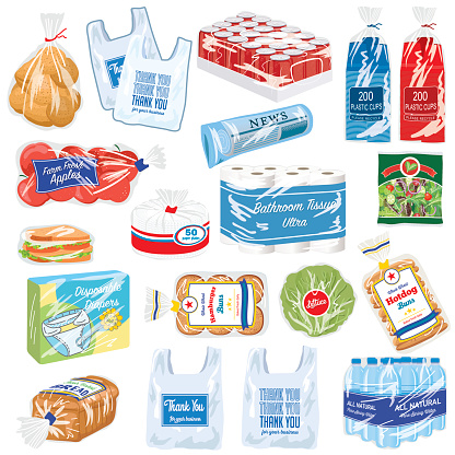 An assortment of foods and products that are packaged in flexible plastic wraps. These items all have recyclable plastic wrappings.