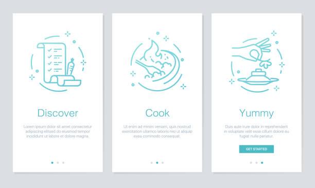 ilustrações, clipart, desenhos animados e ícones de comida e receitas conceito onboarding app telas. vector moderno e simplificado ilustração passo a passo modelo telas para aplicativos móveis. - ingredientes