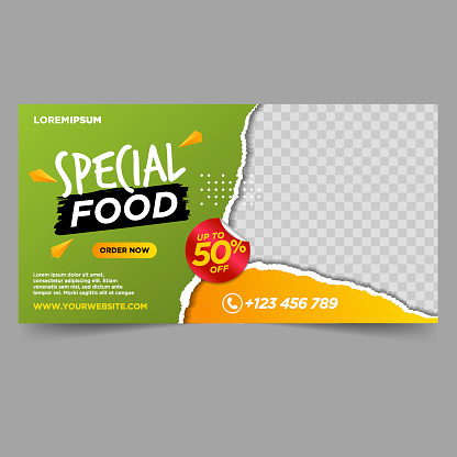 Food and Restaurant banner design template