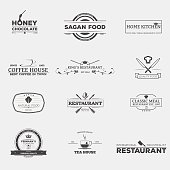Set of retro logo and emblems, badges and insignias, labels and signs for food production and restaurants. Tea or coffee house, medieval restaurant and kitchen emblems.