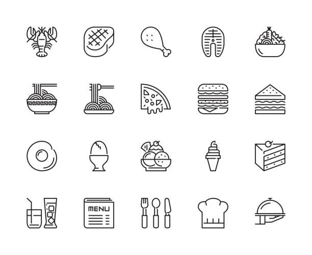 symbole für lebensmittel und restaurant - spiegelei stock-grafiken, -clipart, -cartoons und -symbole
