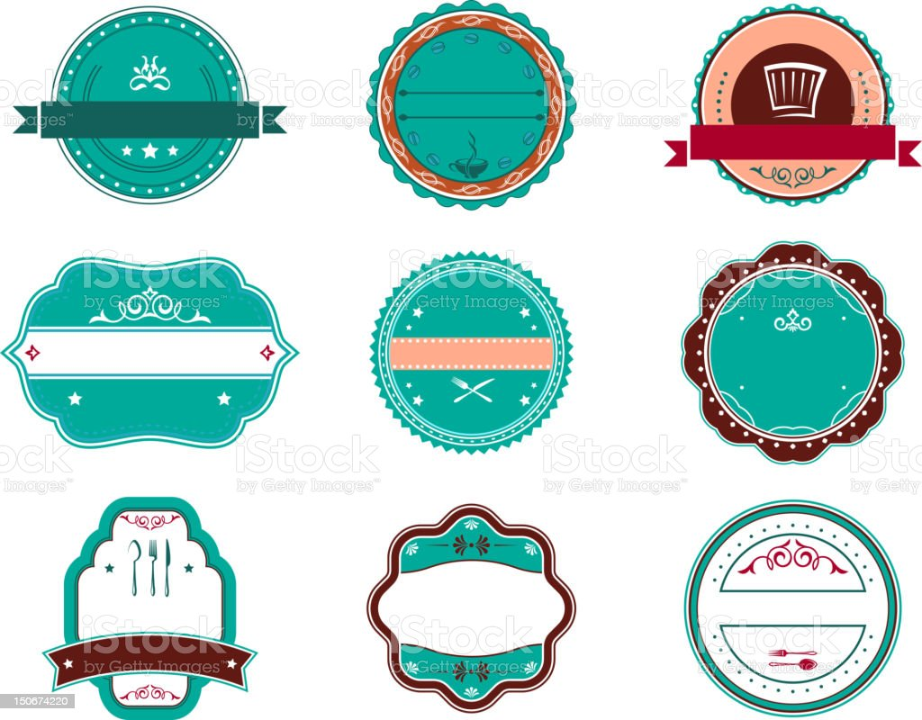 Food and restaurant labels royalty-free stock vector art
