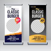Food and Restaurant roll up banner design template vector illustration