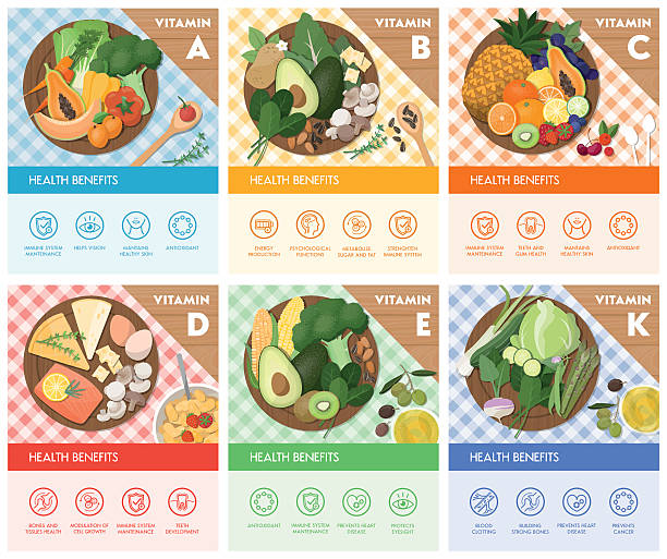 food and vitamins - vitamin d stock illustrations