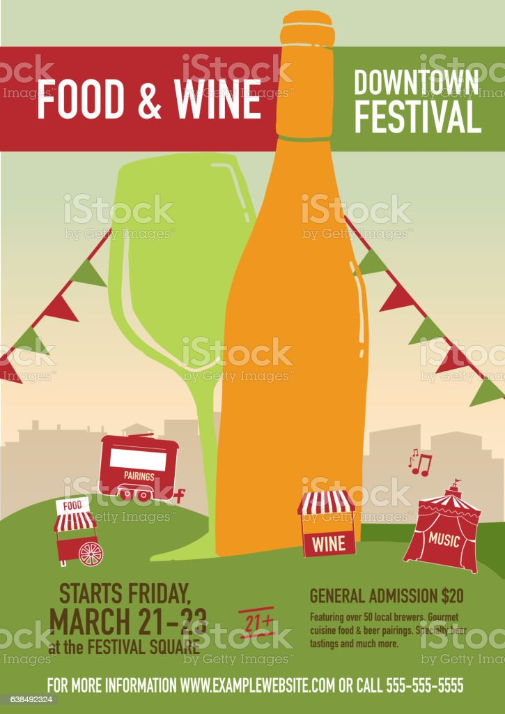 Food And Wine Festival Poster Design Template Royalty Free