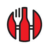 Fork, knife and wine bottle. Vector EPS 10, HD JPEG 4000 x 4000 px
