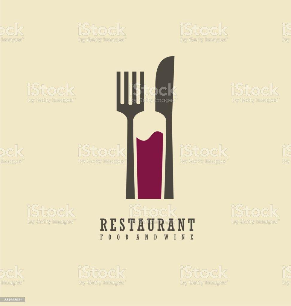 Design de símbolo de comida e vinho - ilustração de arte em vetor