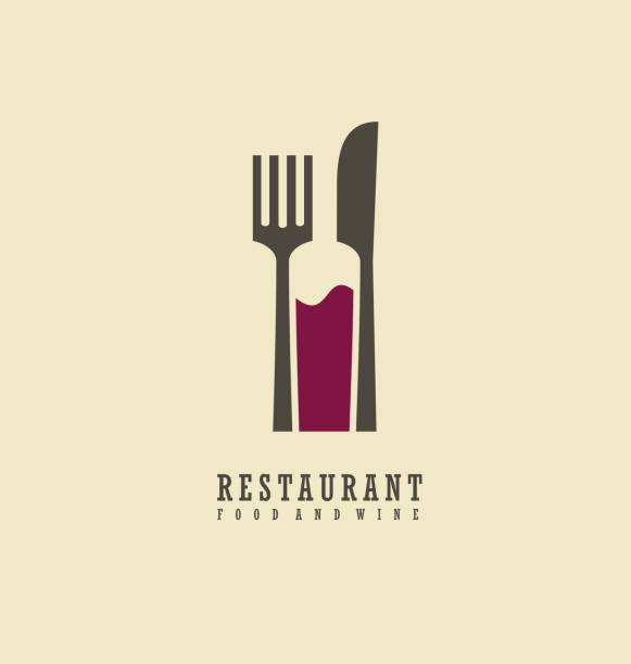 food and wine symbol design - restaurant logos stock illustrations, clip art, cartoons, & icons