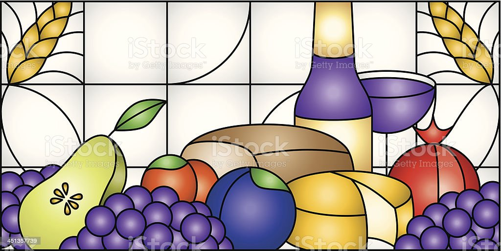 Food and Wine Window royalty-free stock vector art