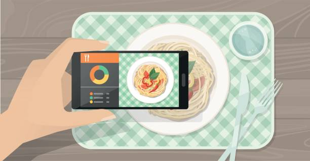 food app - fotografieanleitungen stock-grafiken, -clipart, -cartoons und -symbole
