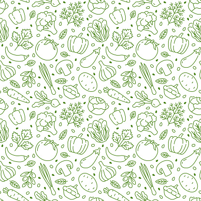 Food background, vegetables seamless pattern. Healthy eating - tomato, garlic, carrot, pepper, broccoli, cucumber line icons. Vegetarian, farm grocery store vector illustration, green white color.