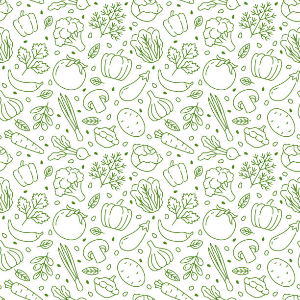 Food background, vegetables seamless pattern. Healthy eating - tomato, garlic, carrot, pepper, broccoli, cucumber line icons. Vegetarian, farm grocery store vector illustration, green white color Food background, vegetables seamless pattern. Healthy eating - tomato, garlic, carrot, pepper, broccoli, cucumber line icons. Vegetarian, farm grocery store vector illustration, green white color. cooking drawings stock illustrations