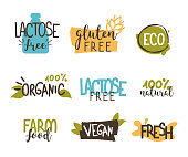 Food badges collection.  Gluten and lactose free, healthy and vegan food labels.  Hand drawn vector illustration.