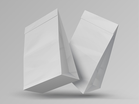 Food bags. Realistic white paper packages. Blank closed packets, mockup for branding. Bagged snacks and takeaway meal. Ecological packaging, vector recyclable sacks with copy space