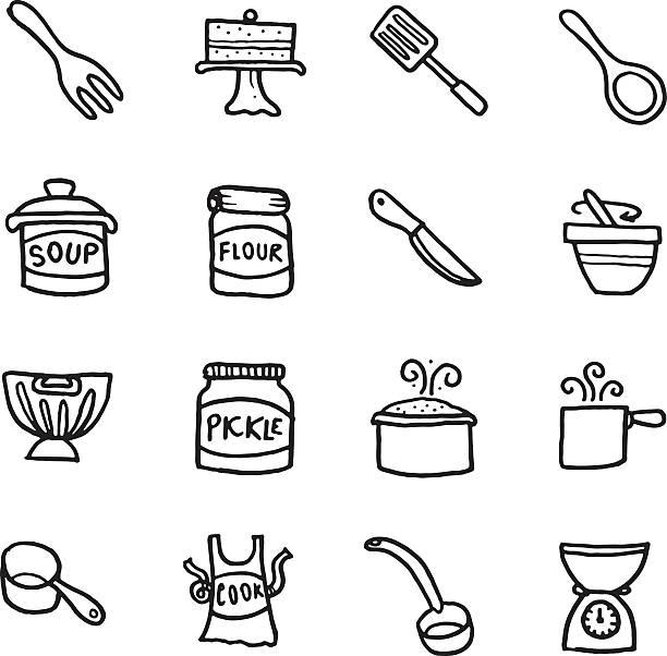 Küche Backen und Ausrüstung doodle icon-set – Vektorgrafik