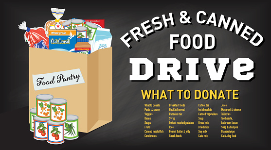 Food Bank Donation Concept Banner. Paper bag filled with groceries to donate to a local food bank. Ideal for a local food drive. Has a layer for text.