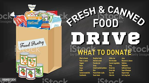 Food Bank Donation Concept Banner Stock Illustration - Download Image Now