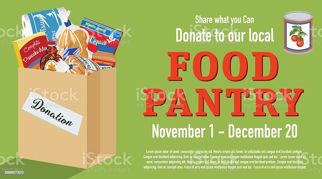 Food Bank Donation Concept Banner Food Bank Donation Concept Banner. Paper bag filled with groceries to donate to a local food bank. Ideal for a local food drive. Has a layer for text. Abundance stock vector