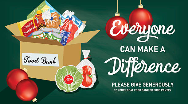 Food Bank Donation Concept Banner Food Bank Donation Concept Banner. Paper bag filled with groceries to donate to a local food bank. Ideal for a local food drive. Has a layer for text. food drive stock illustrations
