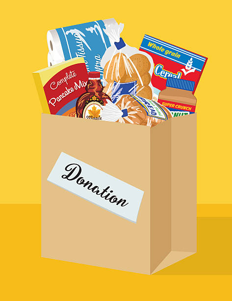 Food Bank Donation Concept Paper bag filled with groceries to donate to a local food bank. Ideal for a local food drive. food drive stock illustrations