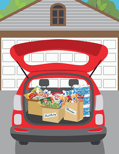 Food Bank Donation Concept Open trunk of SUV with boxes  filled with groceries to donate to a local food bank. Ideal for a local food drive. food drive stock illustrations