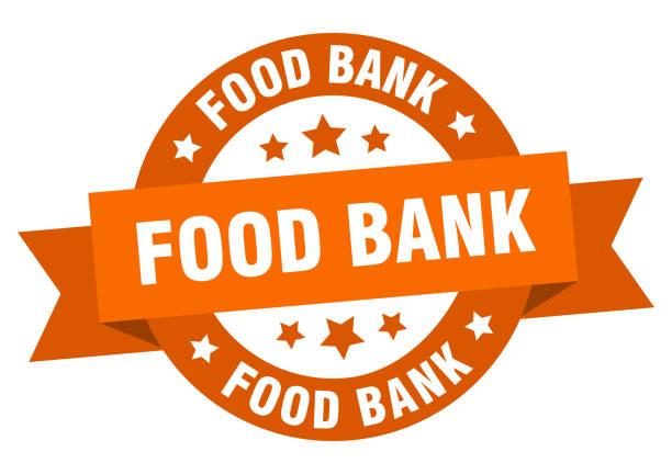 food bank ribbon. food bank round orange sign. food bank food bank ribbon. food bank round orange sign. food bank food bank stock illustrations